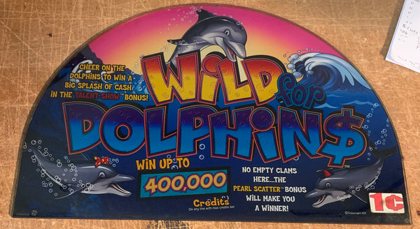 IGT I Game Wild Dolphins 17 Inch Round Top Glass