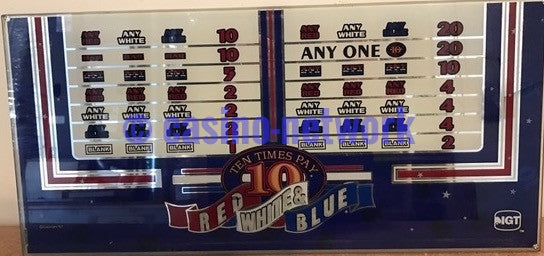 IGT Red White & Blue 10 times Pay 2 Coin Belly Glass