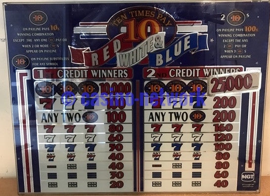 "IGT Red White & Blue 10 times Pay 2 Credit 16"" Glass"