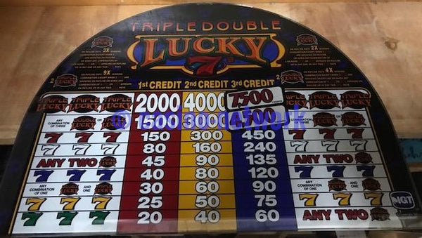 IGT S-2000 Triple, Double Lucky  Sevens 3 Credit Round top Glass