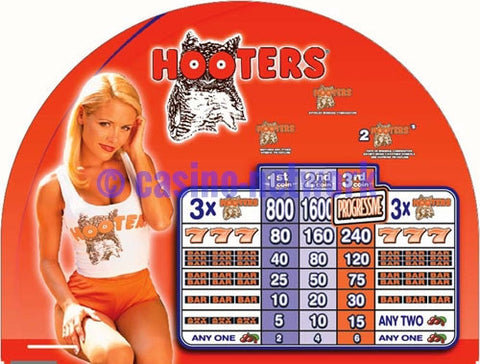 Hooters Round Top Slot Machine Glass