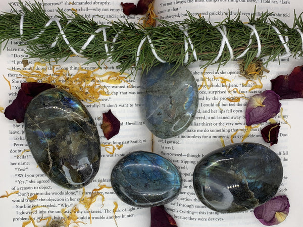 High Flash Extra Large Labradorite Palm Stones - Pour Gal Studios