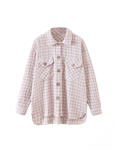 Pink Tweed Shirt Jacket