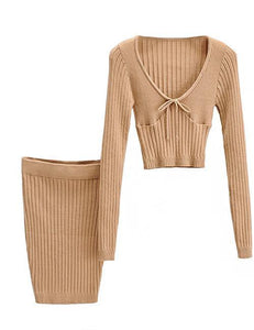 Beige Knitted Co-ord Set