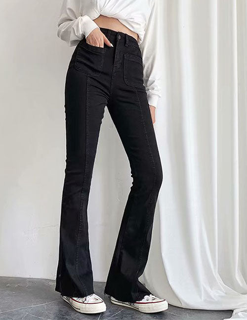 Load image into Gallery viewer, Black High Rise Stretch Flare Jeans ( pre-order: 2 weeks )