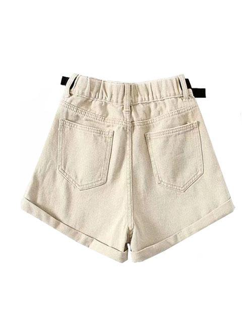 Load image into Gallery viewer, Beige Belted Denim Shorts
