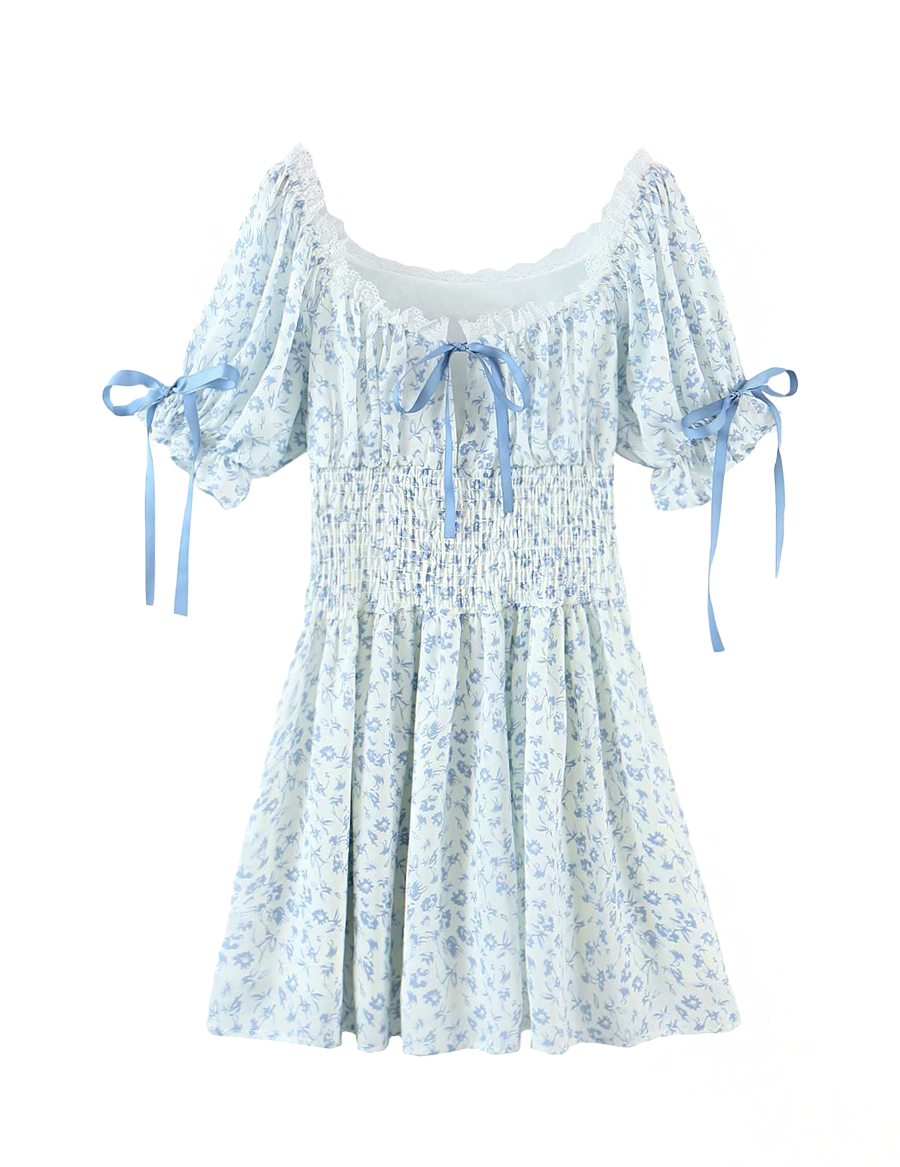 Load image into Gallery viewer, Blue Floral Lace Trim Bow Dress