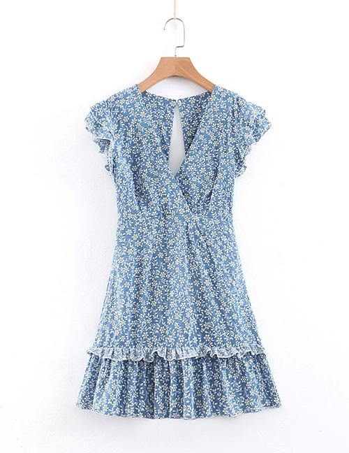 Load image into Gallery viewer, Blue Open Back Floral Dress