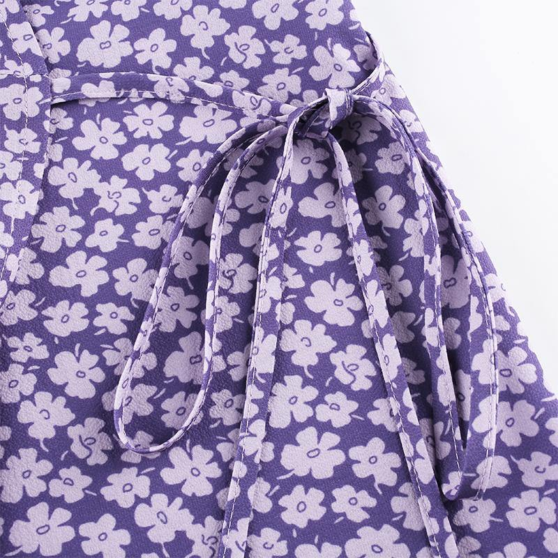 Load image into Gallery viewer, Purple Floral Printed Wrap Dress