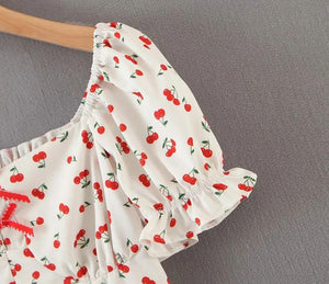 White Cherry Printed Square Neck Top