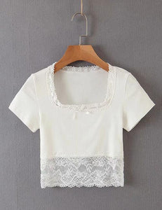 White Lace Cropped T-shirt Top