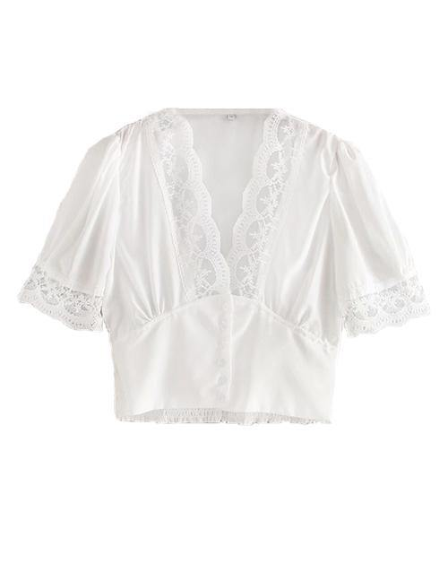 White Lace Short Sleeve Blouse Top