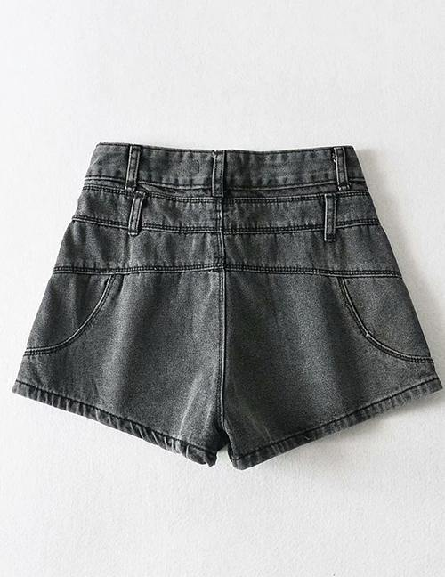 Load image into Gallery viewer, Gray Washed Double Waist Denim Shorts