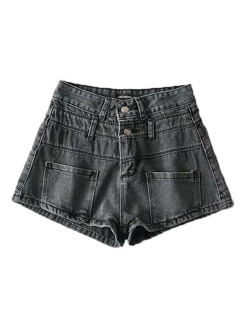 Gray Washed Double Waist Denim Shorts