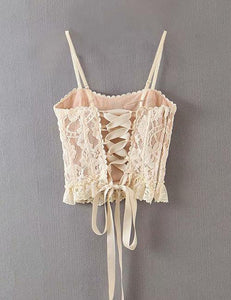 Beige Lace Top with Adjustable Front and Back Straps