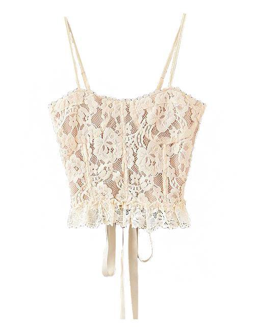 Load image into Gallery viewer, Beige Lace Top with Adjustable Front and Back Straps