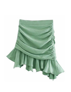 Green Pleated Ruffle Skirt