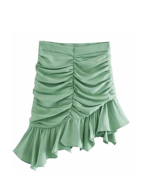 Load image into Gallery viewer, Green Pleated Ruffle Skirt