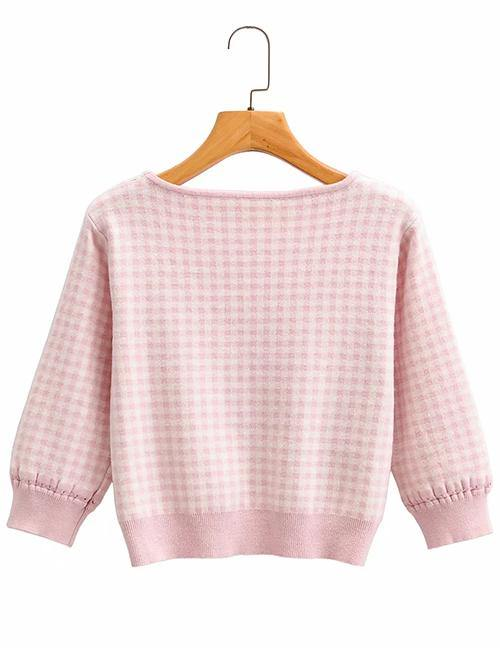Load image into Gallery viewer, Pink Check Print Drawstring Sweater