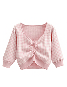 Pink Check Print Drawstring Sweater