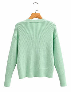 Green Knit Cardigan Top