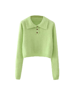Green Fluffy Button Crop Sweater