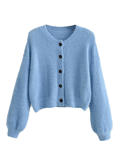 Load image into Gallery viewer, Blue Fluffy Cardigan Co-ord Set Top