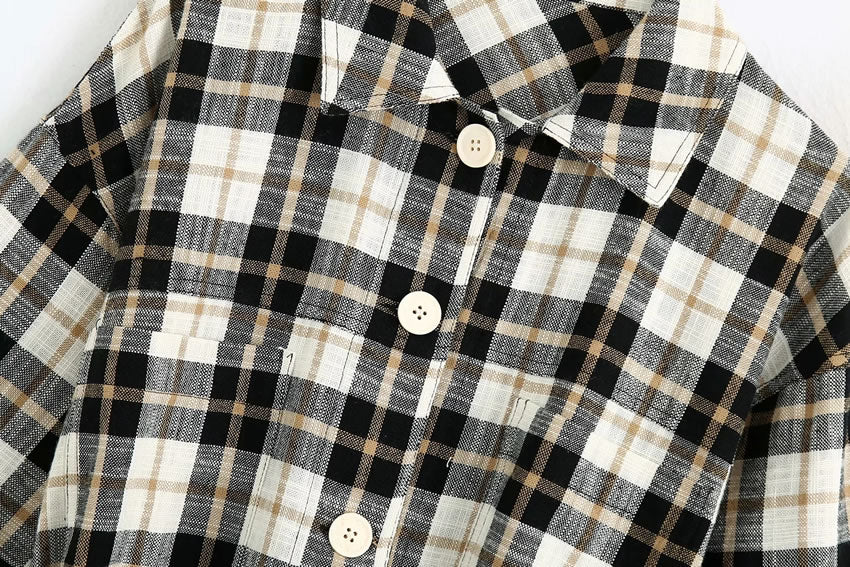 Load image into Gallery viewer, Black Belted Plaid Jacket
