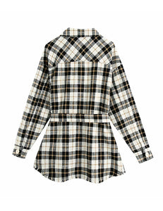 Black Belted Plaid Jacket