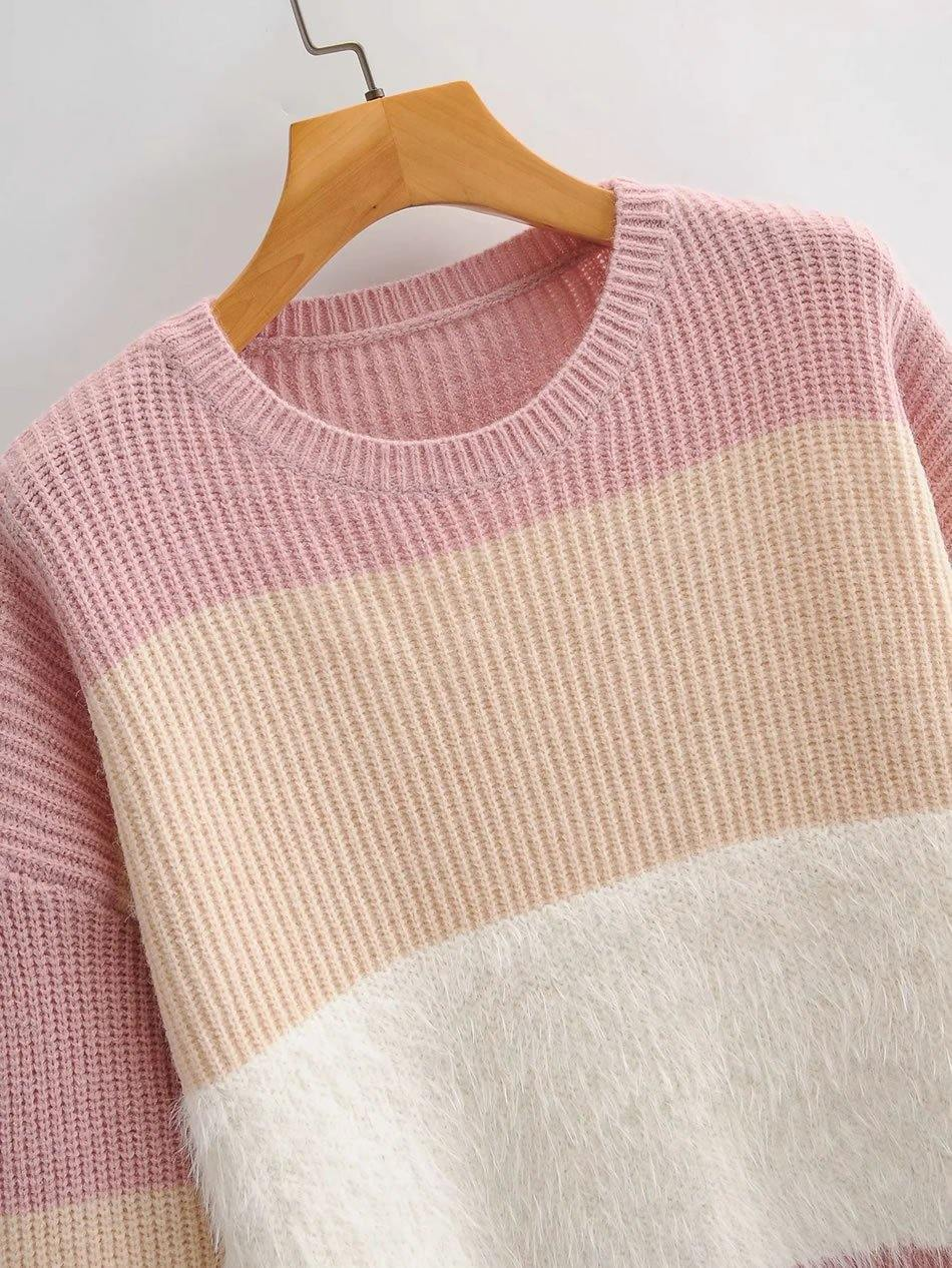 Load image into Gallery viewer, Pink Color Block Knitted Sweater