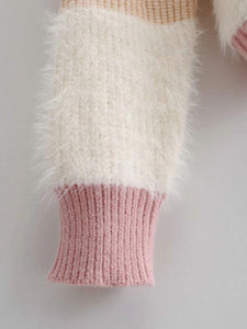 Pink Color Block Knitted Sweater