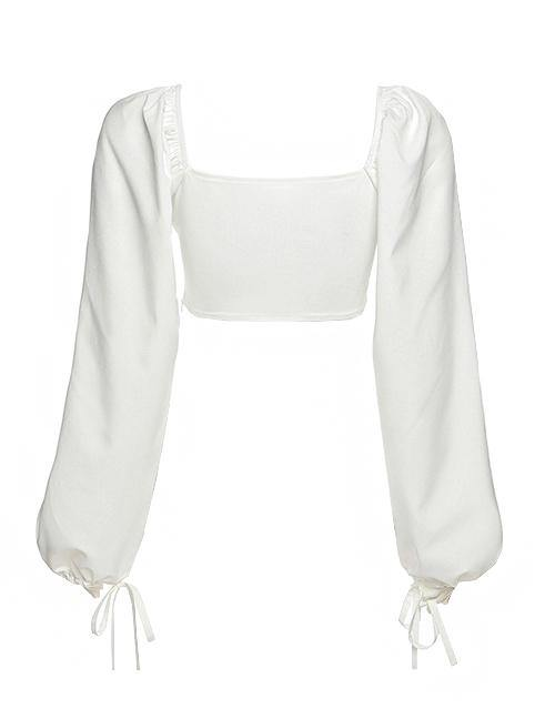 Load image into Gallery viewer, White Statement Puff Sleeve Crop Top (pre-order 2 weeks)