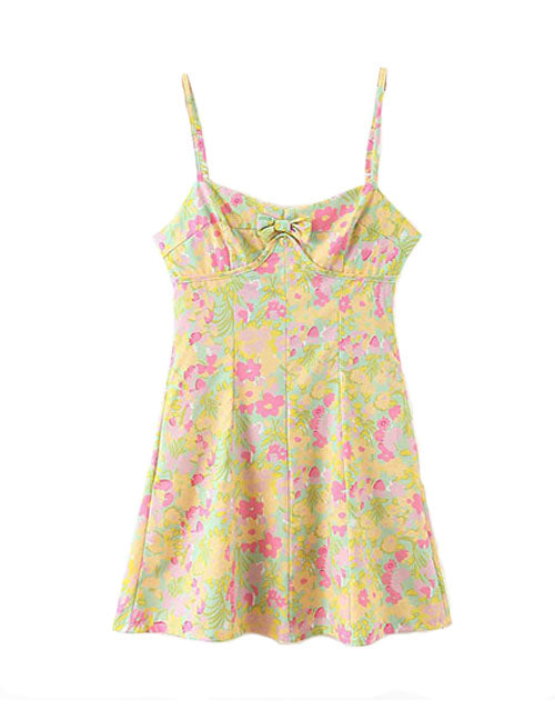 Load image into Gallery viewer, Multi Color Floral Bow Strap Dress