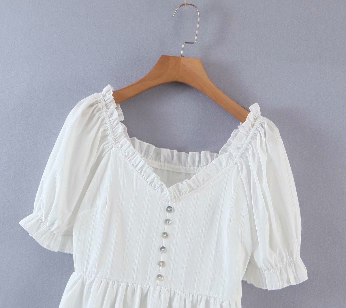 Load image into Gallery viewer, White Baby Doll Ruffle Shift Dress