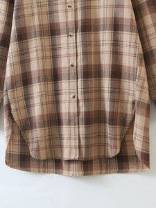 Brown Plaid Long Shirt Top