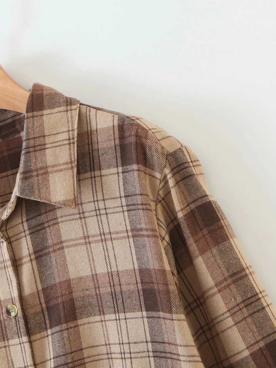 Load image into Gallery viewer, Brown Plaid Long Shirt Top