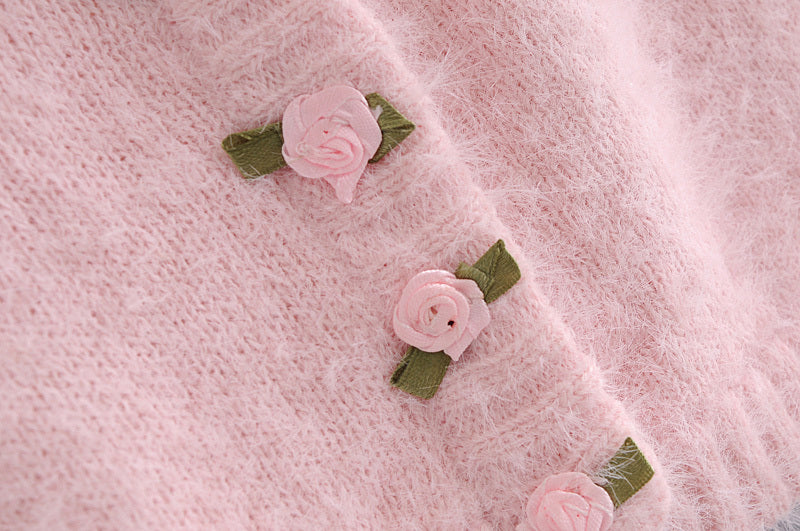 Load image into Gallery viewer, Pink Fluffy Super Soft Floral Cardigan