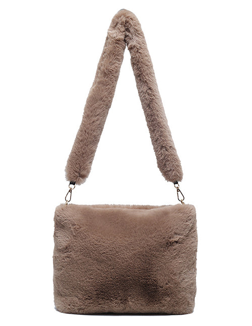 Brown Fluffy Crossbody Bag