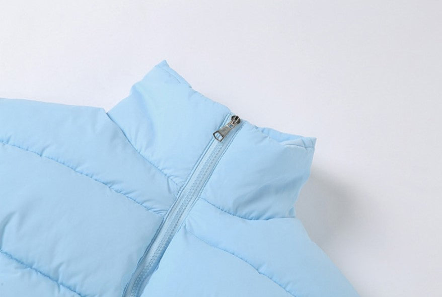 Load image into Gallery viewer, Blue Crop Puffer Jacket