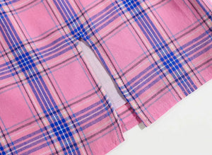 Pink and Purple Plaid Slit Skirt