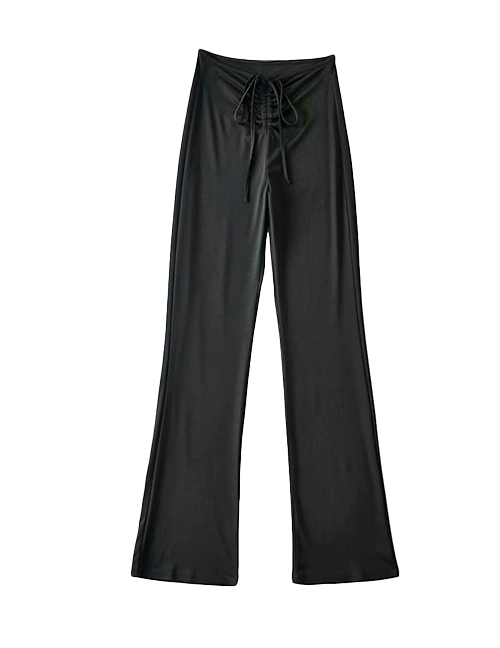 Load image into Gallery viewer, Black Drawstring Flare Pants