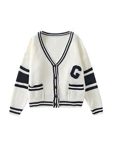 White Varsity Cardigan Top