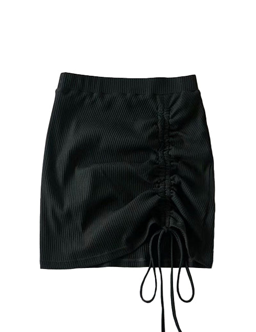 Load image into Gallery viewer, Black Drawstring Ribbed Skirt