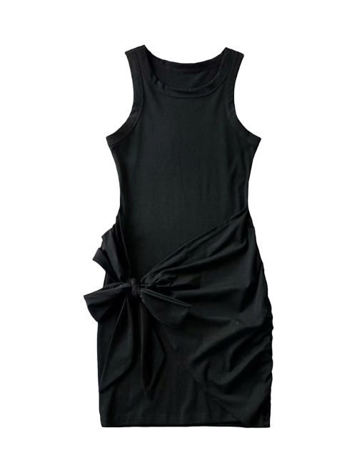 Black Tie Waist Sleeveless Mini Dress