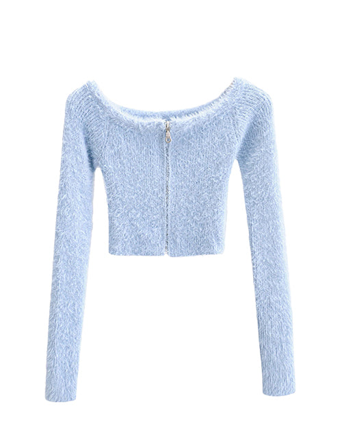 Blue Fluffy Zipper Crop Cardigan Top