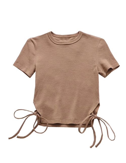Load image into Gallery viewer, Brown Tie Detailing T-shirt Top