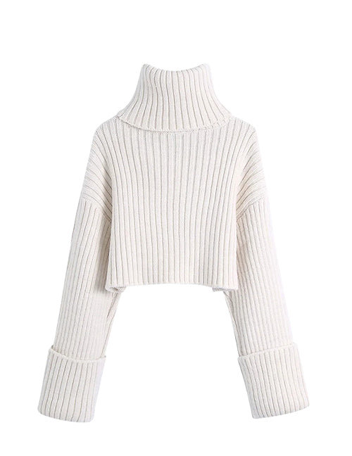 Load image into Gallery viewer, White Ribbed High Neck Chunky Crop Sweater