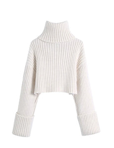 White Ribbed High Neck Chunky Crop Sweater