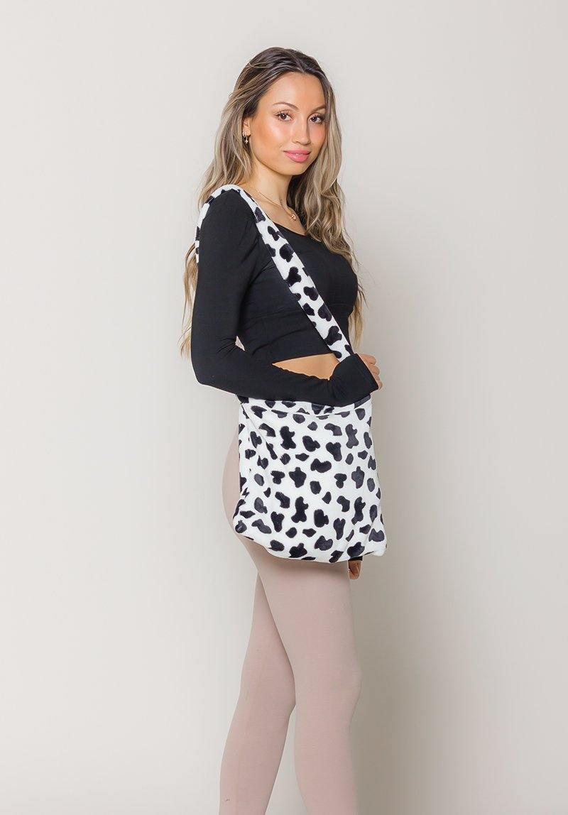 Black and White Cow Print Fluffy Tote Bag