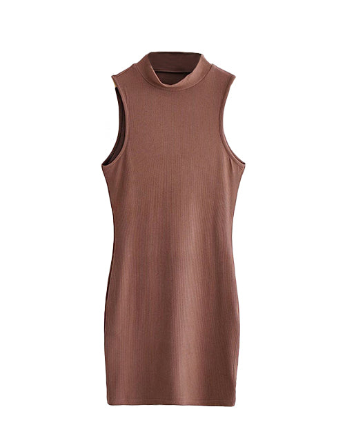 Brown Turtleneck Sleeveless Bodycon Dress